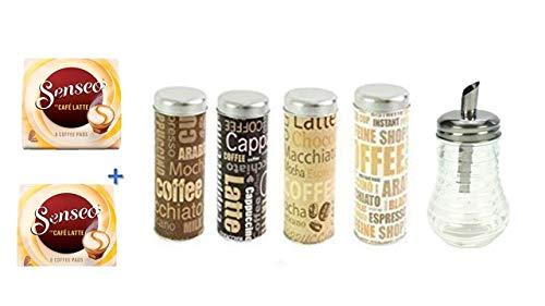 Senseo Café Latte 8 Pads 2er Pack + Pad Dosen Metallic mit Padheber 4 Sorten sortiert von James Premium® + Zuckerstreuer Glas