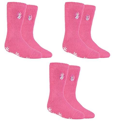 HEAT HOLDERS 3 Paar Mädchen Thermo-Slipper Grip-Socken mit Aufschrift, Größe UK 12½-3½ EUR 31-36, 3 Pairs Frozen Olaf