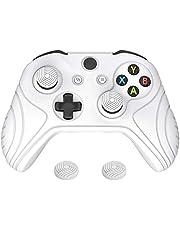 PlayVital Funda de Silicona para Control Xbox One S X Accesorios Protector Tacto Suave Carcasa Antideslizante con 2 Tapas de Joysticks Funda de Goma para Mando Xbox One S X(Edición Samurai-Blanco)