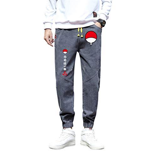 SAFTYBAY Calça de moletom masculina Naruto, calça Sasuke 3D, anime, casual, esportiva, urbana, calça jeans com cordão para meninos, Yzbyz, cinza, 3XL