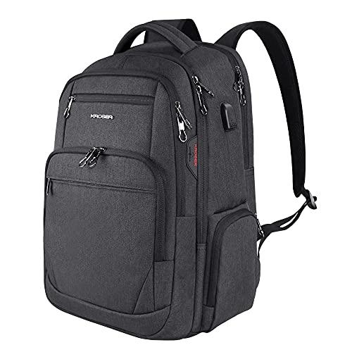 """KROSER Sac à Dos pour Ordinateur Portable 17.3"""" Grand Sac Imperméable avec Interface Casque Poche RFID pour Travail / Affaires / Université / Hommes / Femmes Laptop Backpack"""
