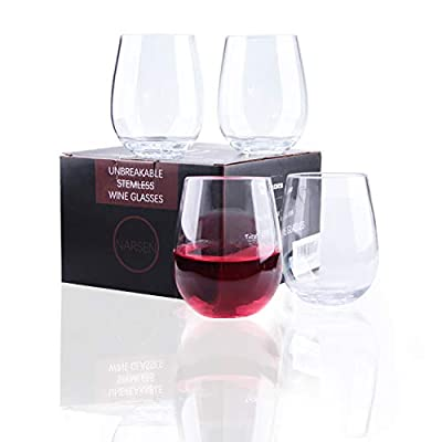 Narsen Unbreakable Stemless Wine Glasses Set of 4 Shatterproof Non-Breakable No Stem Tritan Plastic Outdoor Drinkware Tumbler Cups Dishwasher-Safe Goblets for Pool Parties Camping (4, 16 oz)