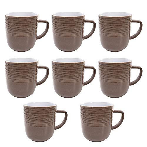 Crown Baccara SET DRAKE MG Set tazas redondo Cerámica 8 piezas DRAKE MG, Mediano, Café