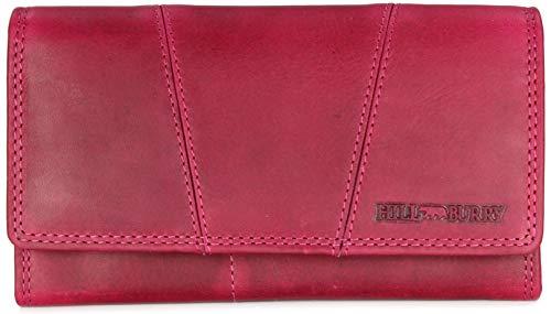 Hill Burry Vintage Leder Damen Geldbörse Portemonnaie Geldbeutel Portmonee aus weichem Leder in pink - 17,5x10x3cm (B x H x T)