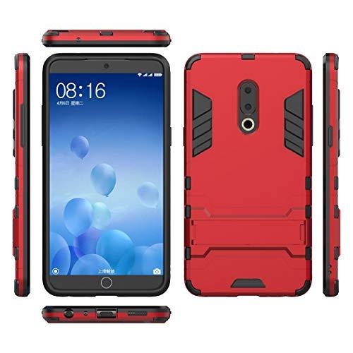 Ycloud Rüstung Hülle für Meizu 15 Plus Smartphone, Dual Layer Hybrid Heavy Duty Harte PC Handyhülle mit Ständer stoßdämpfend Rückseite Hülle (Rot)