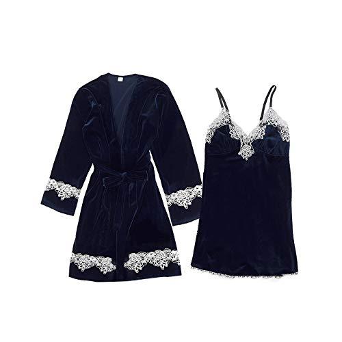 Dessous Kimono Schlafanzug Frauen Sexy Nachtwäsche Für Frauen Langarm Sinnliche Nachtwäsche Damen Transparente Nachtwäsche Nachtwäsche Damen Damen Kleidung Sommer (B1-Marine,M)