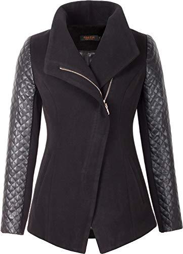 Grimada A20 Damen Wolljacke Blazer Jacket Cootic mit Lederärmel (42, schwarz)