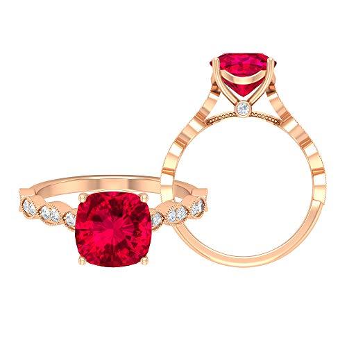 Anillo solitario de corte cojín, anillo marquesa de oro macizo, piedra preciosa de 2,77 quilates, D-VSSI moissanite 8, 18K Oro rosa, Size:EU 50