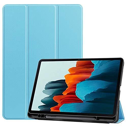 Skhawen For Samsung Galaxy Tab S7 SM-T870 T875, Soft TPU Back Shell Magnetic Smart Case for Samsung Galaxy Tab S7 con Soporte de lápiz (Color : Azul)