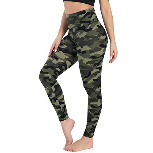 Gayhay High Waisted Leggings for Women - Soft Opaque Slim Tummy Control Printed Pants for Running Cycling Yoga Army Green Camo
