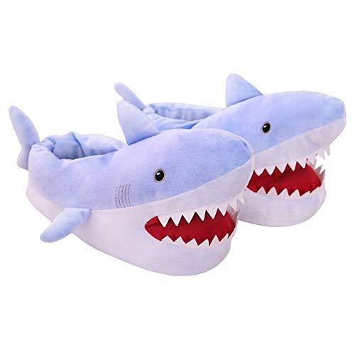 shewt Unisex Plüsch Hai Hausschuhe, rutschfeste Fullback Slippers für Herren, Damen, Kinder, Einheitsgröße (23-26 cm)