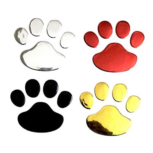 YeahiBaby - Adhesivo 3D, diseño de huella de perro y gato, 4 unidades