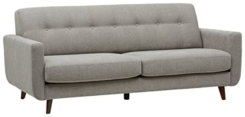 Amazon Brand – Rivet Sloane Mid-Century Modern Sofa with Tufted Back, 79.9'W, Pebble