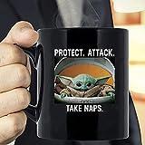 N\A Baby The Yoda The Mandalorian The Child Mug, Baby The Yoda Christmas Mug, Protect Attack Take Naps Taza