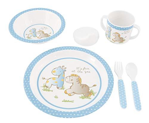 Bieco Baby Geschirrset mit Tiermotiv | 5-teiliges Baby Geschirr | Kindergeschirr aus Melamin | Geschirr Baby für Kleinkinder | Baby Essen Set | Babygeschirr Set | blau