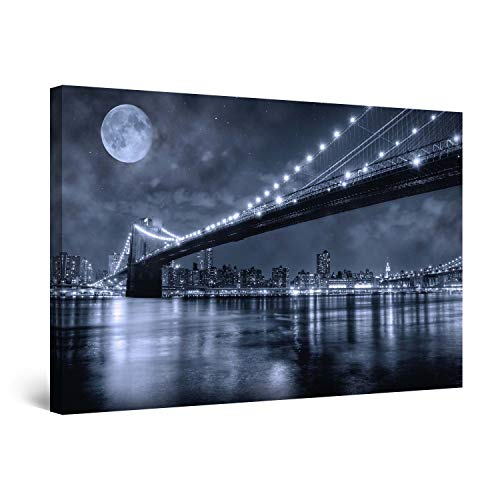 Startonight Wall Art Canvas Brooklyn Bridge, New York Framed 24 x 36 Inches