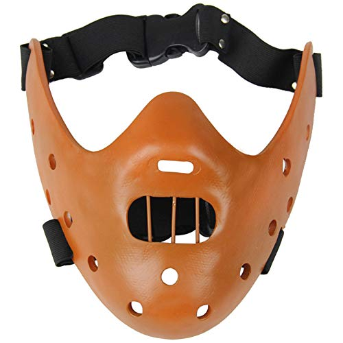 suolanziy El Silencio de los Corderos Máscaras Hannibal Lecter de Resina de la Mascarada de Halloween Carnaval Party Props Media Mascarilla (Brown)