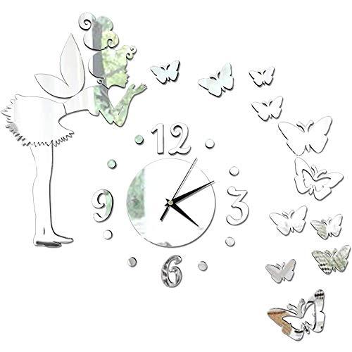 FANDE 3D Große Wanduhren, Schmetterling Wandaufkleber, DIY Kunst Aufkleber, 3D Wandaufkleber Dekoration Acryl Spiegel, Moderne Mute DIY Wanduhr (Silber)
