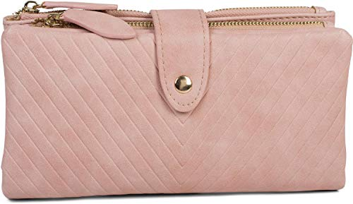 styleBREAKER Damen Portemonnaie mit V-Förmig geprägter Struktur, Druckknopf, Reißverschluss Geldbörse 02040124, Farbe:Rose