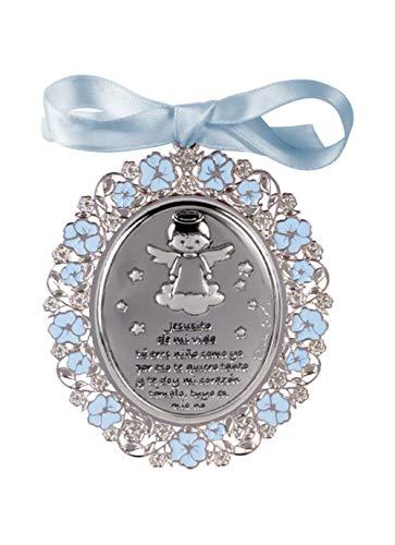 DOCOLASTRA Medalla personalizada de CUNA ó de COCHECITO de ANGEL DE LA GUARDA terminada en Plata calada bilaminada, esmaltada en AZUL y barnizada.