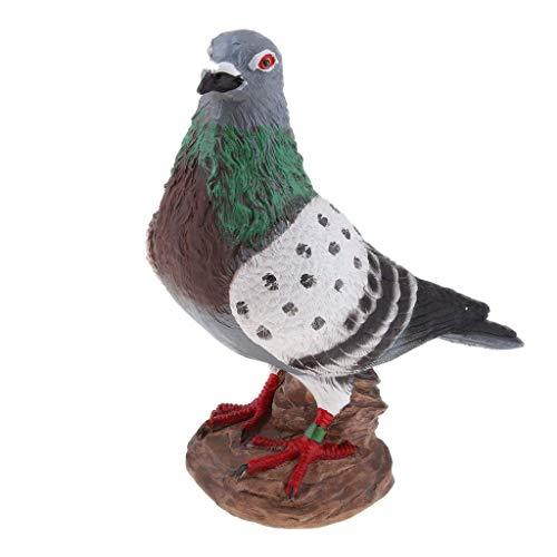 Backbayia Taube aus Kunstharz, Dekofigur Vogel, Dekoration für Garten, Rasen, Statue Vogel, Simulation (weiß grau C)