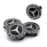 Tapa de Cubo de Rueda de Mercedes, 4 Piezas del Centro de la Rueda del Coche Cubre la Insignia del Logotipo del Coche para Mercedes Benz(Negro 75mm)