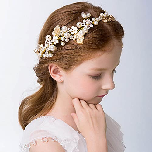 IYOU Princesa Nupcial Tocado Perlas Vestido de Pelo Tiara Hojas Santa Comunión Cabello Vine para Flores Niñas y Damas de Honor