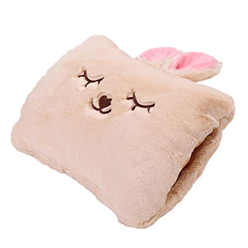 Milkycat Cute Hot Water Bottle with Cover,Portable Rechargeable Electric Hot Water Bag,Plush Bunny Hand Warmer(Winter Expressive Gift,Beige Rabbit)