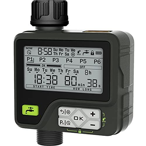 CROSOFMI Centralina Irrigazione Automatico Timer Giardino Batteria Smart Sensore di Pioggia Programmatore Irrigatore Irrigazione 6 Programmi Indipendenti