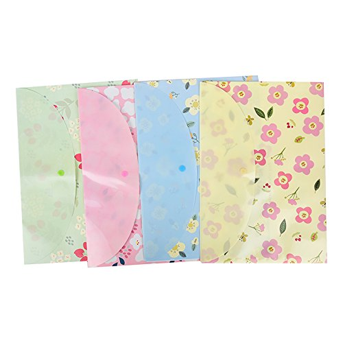 LONG7INES Cute Floral Printed File Folder, A4 Letter Document Organizer, Filing Bag with Snap Button Photo #4