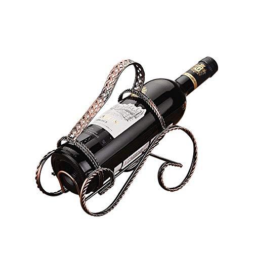 ZJZ Estante de Vino, Estante de Vino Creativo Adornos de Hierro Forjado Retro Titular de Botella de Vino Tinto hogar 22 * 21.5 * 9.5 cm