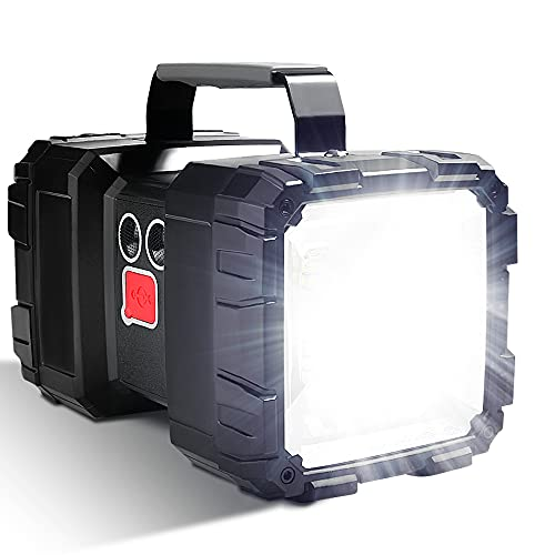 LETOUR Linterna recargable LED, 10000 mAh 1200 lúmenes ultralarga, de alta potencia impermeable para camping 7 modos, luz de búsqueda LED superbrillante con salida USB ✅
