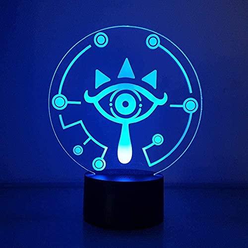 Luz de ilusão 3D LED Night Light The Legend of Zelda Breath of The Wild Visual 7 cores que mudam a cor do anime, brinquedo para crianças, presente de aniversário, Natal QLWLKJ HOICHAN