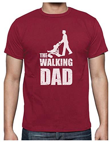 Green Turtle T-Shirts Camiseta para Hombre- Regalos Originales para Padres Primerizos - The Walking Dad X-Large Burdeos