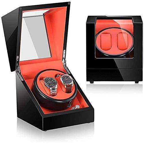 ANZRY Enrollador De Reloj Automático,Caja De Presentación De Relojes Giratoria Elegante Almacenamiento De Rotación De 2 Relojes con Caja De Exhibición De Motor Japonés