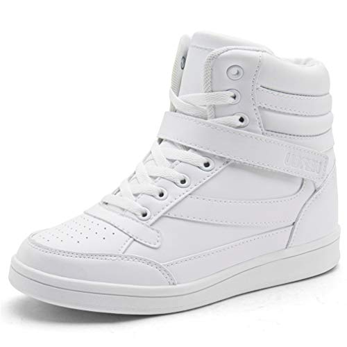 UBFEN Women's Shoes Hidden Wedges 5.5cm Fashion Sneakers Ankle Boots Bootie Platform Heel High Top Casual Sports White 7.5 B(M) US