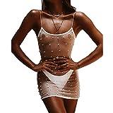 Damen Transparentes Netzkleid Spaghettiträger Faux Perlen Dekor Sexy Hollow Out Club Minikleider Gr. 34, weiß