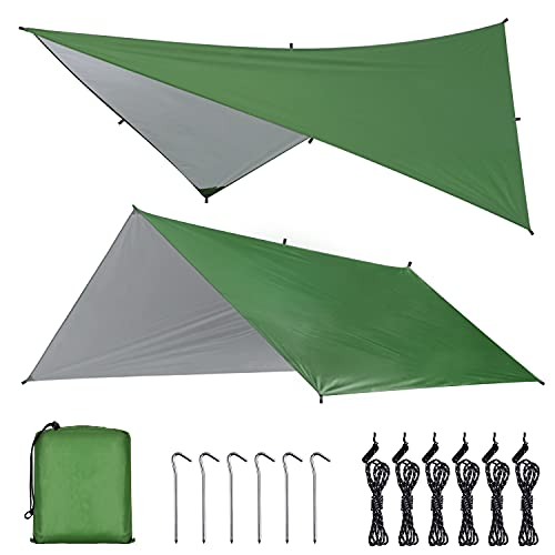 OTraki Toldo Camping Impermeable 3M×3M Rain Tarp UV Protección Lona para Acampar con Accesorios Portátil Toldo para Hamaca Furgoneta Playa Vivac Exterior