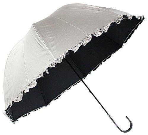 日光を遮断! 晴雨兼用 日傘 かわいいドーム型 生地表シルバーコーティング フリル付 UVカット 紫外線遮蔽率99% UPF50+60cm 手開き傘 (黒)