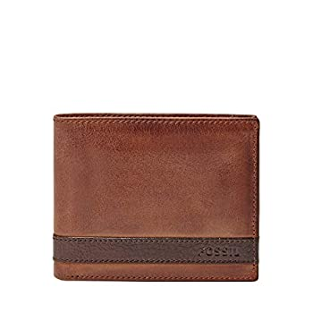 Fossil Men s Quinn Leather Bifold with Flip ID Wallet Brown