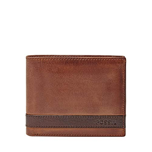 Fossil Men's Quinn Leather Bifold Flip ID Wallet, Brown