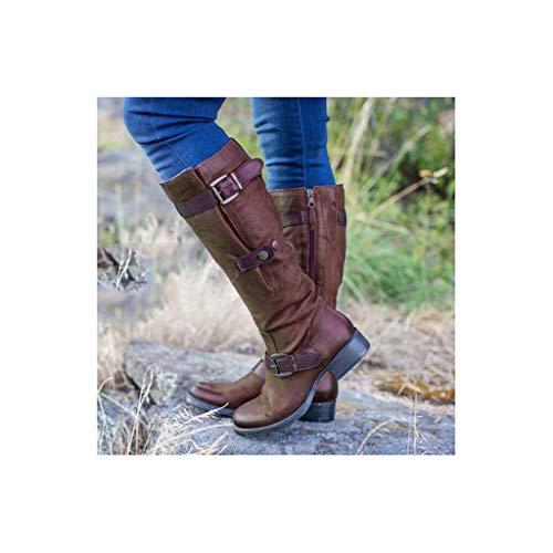 ZHAG Botas hasta La Rodilla para Mujer Cuero con Cremallera Zapatos Ecuestres De Caballero Botas De Montar Antideslizantes Al Aire Libre,Black-39