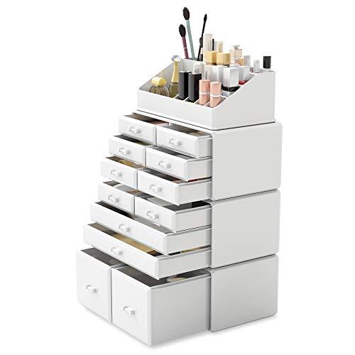 Readaeer 4 Teilig Makeup Organizer/Kosmetik Aufbewahrungsbox/Schmink Aufbewahrungskasten mit Schubladen in verschiedenen Größen, ist für Schlafzimmer und Badzimmer geeignet [MEHRWEG] (Weiß)