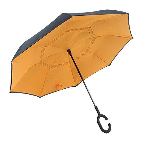 welltobuy Regenschirm Taschenschirm - Umgekehrter Regenschirm mit Doppelschicht und C-förmigem Griff Wasserdichter Handfreier Regenschirm, Teflon-Beschichtung, windsicher, stabil