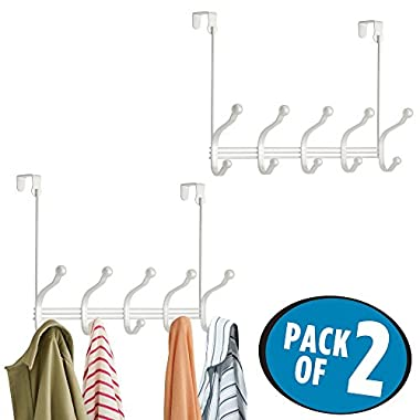 mDesign Over Door 10 Hook Steel Storage Organizer Rack for Coats, Hoodies, Hats, Scarves, Purses, Leashes, Bath Towels & Robes - Pack of 2, Pearl White