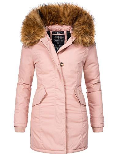 Marikoo Damen Winter Mantel Winterparka Karmaa-Prc Rosa Gr. M