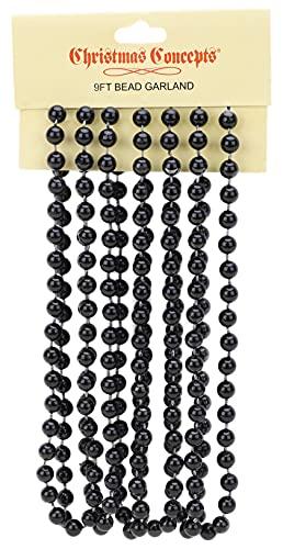 Christmas Concepts 9ft Christmas Bead Chain - Christmas Bead Garlands - Christmas Decorations (Black)
