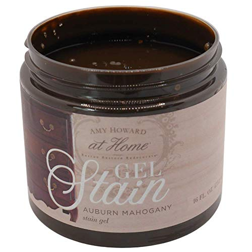 Gel Stain | Auburn Mahogany | Thick Water Based Gel Stain for Wood | 16 oz | Acts as Wood Stain and Glaze | Amy Howard Home