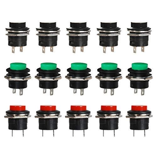 16 mm Negro Interruptor Botón, Rojo Momentáneo IInterruptor Redondo, Verde 3A/250V 2 Pin Interruptor ON OFF - 15 unidades