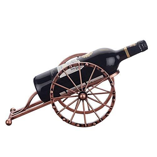 Estatua De Escultura,Moda Simple Arte De Hierro Antiguo Cannon Modelo Botella De Vino Estante Decoración Metal Cañón Miniatura Estante Rack Bar Decoraciones De Vajilla Artesanías De Cobre Decora